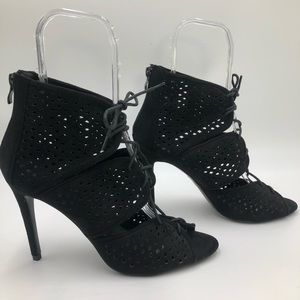 HerStyle Laser Cut Lace Up Peep Toe Heeled Booties